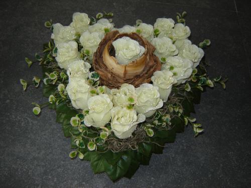 Hart witte rozen